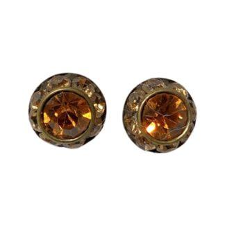 Crystal Earring Studs - Orange/Orange