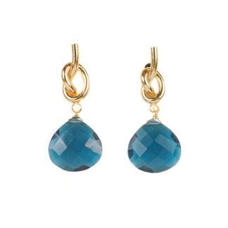 Sissy Yates Knot Earrings - Blue Quartz