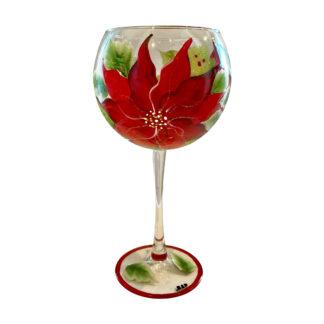 Poinsettia Wine Glass - Red Wine